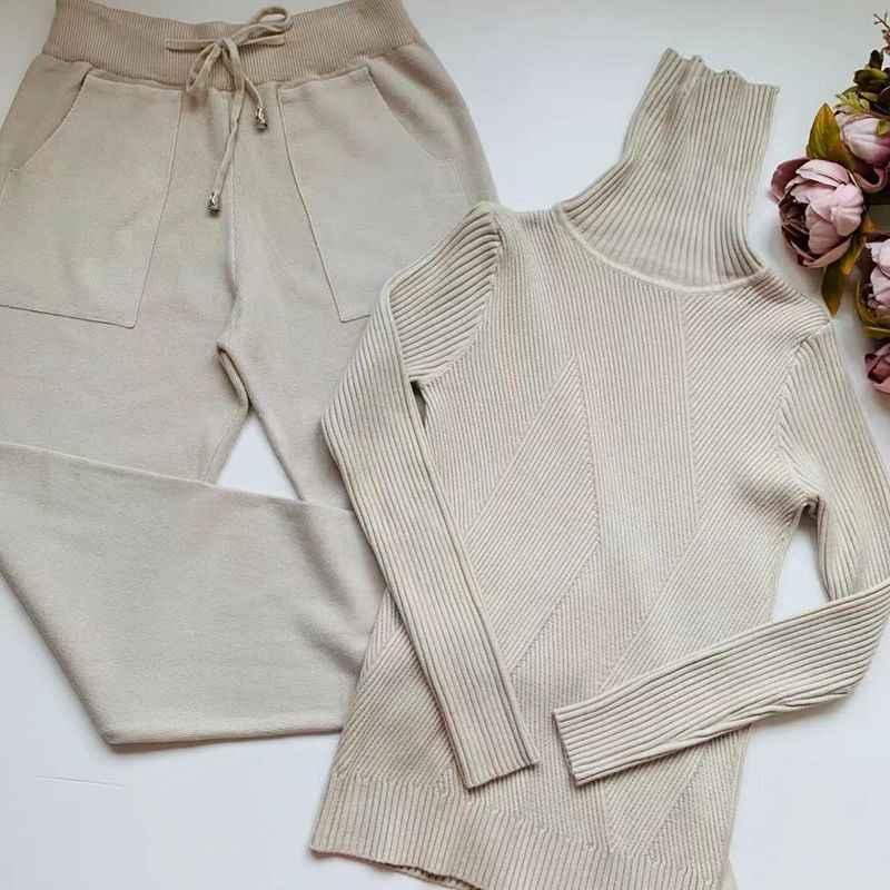 GIGOGOU, Женский трикотажный спортивный костюм, свитер с высоким воротом, повседневный костюм, Осень-зима, комплект из 2 предметов, вязаные штаны, спортивный костюм, женская одежда