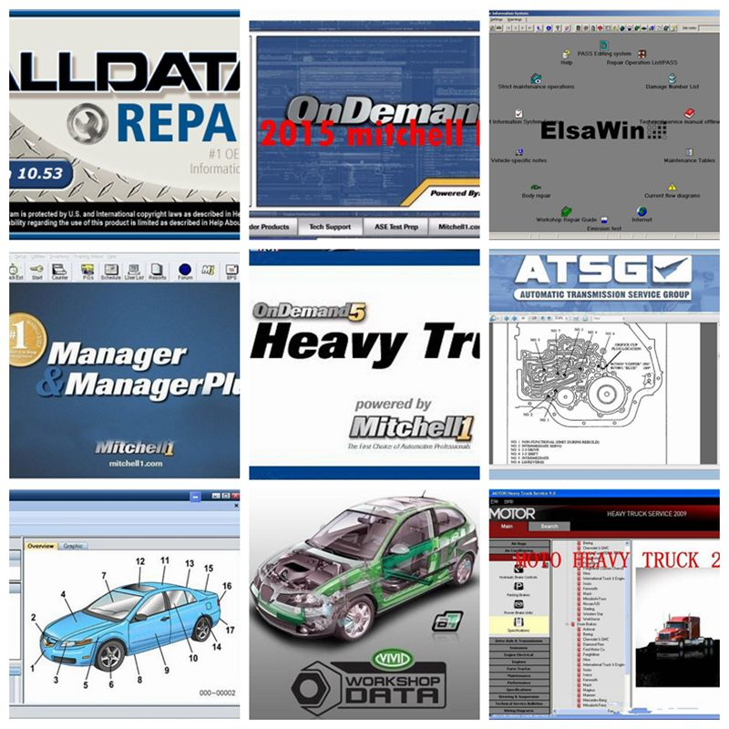 2020 Auto Repair Software Alldata V10.53 1TB HDD 50 Software Alldata And Mitchell 2015 Heavy Truck Vivid Workshop ATSG ElsaWin