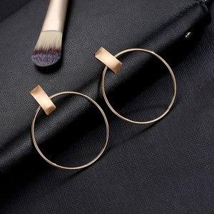 Женские серьги-подвески, корейские, японские, OL, простые, круглые, металлические серьги для женщин, модные ювелирные изделия, 2020