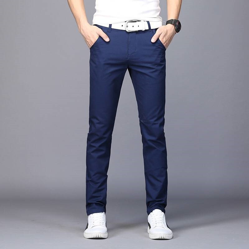 2019 New Fashion Men Jeans Casual Stretch Skinny Jeans Slim Fit Trousers Tight Blue Pants Solid Color Male Strousers Straight