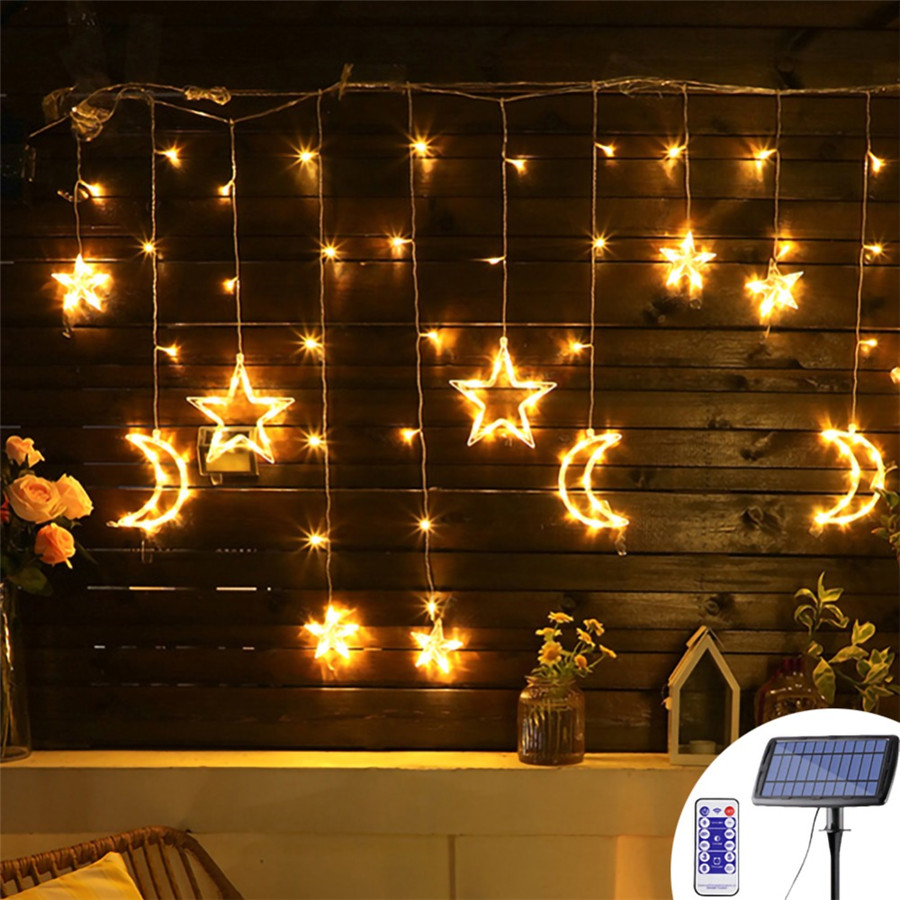 Solar Led Curtain String Light 3.5 Meter Star Moon Fairy Decoration Wireless Outdoor Lighting For Party,Holiday,Wedding,Birthday
