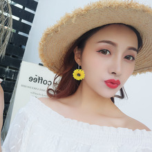 Long Earrings Pendant 1 Pair of Female Tassel Golden Sunflower Fashion Girl Star Streamlined Crystal