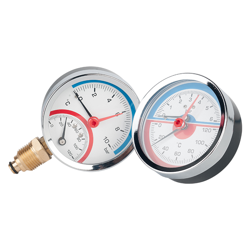 6 Bar 10 Bar 16 Bar Radial Axial Temperature Pressure Gauge Meter G1/4 G1/2 Thread Thermometer Dial Diameter 63mm