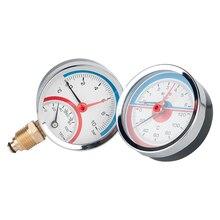 6 bar 10 bar 16 bar Radial Axial Temperature Pressure Gauge Meter G1/4 G1/2 Thread Thermometer Dial diameter 63mm