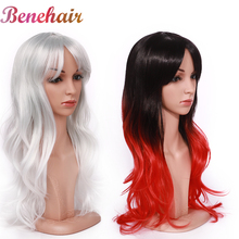 S noilite Cosplay Wig With Bangs Synthetic Ombre Red Pink Purple Green Wig Long Wavy Hair Heat Resistant Fake Hair For Women