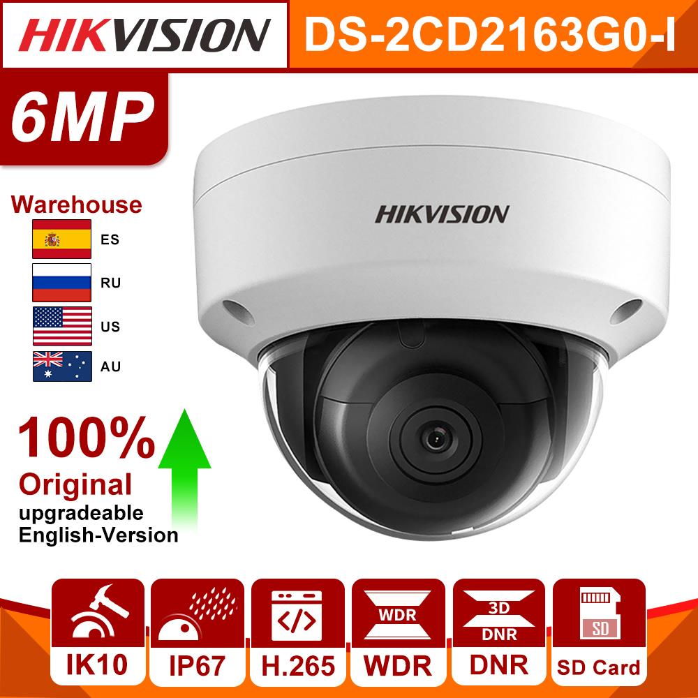 Original Hikvision IP Camera 6MP DS-2CD2163G0-I MINI Dome Network Camera SD Card CCTV Security Camera