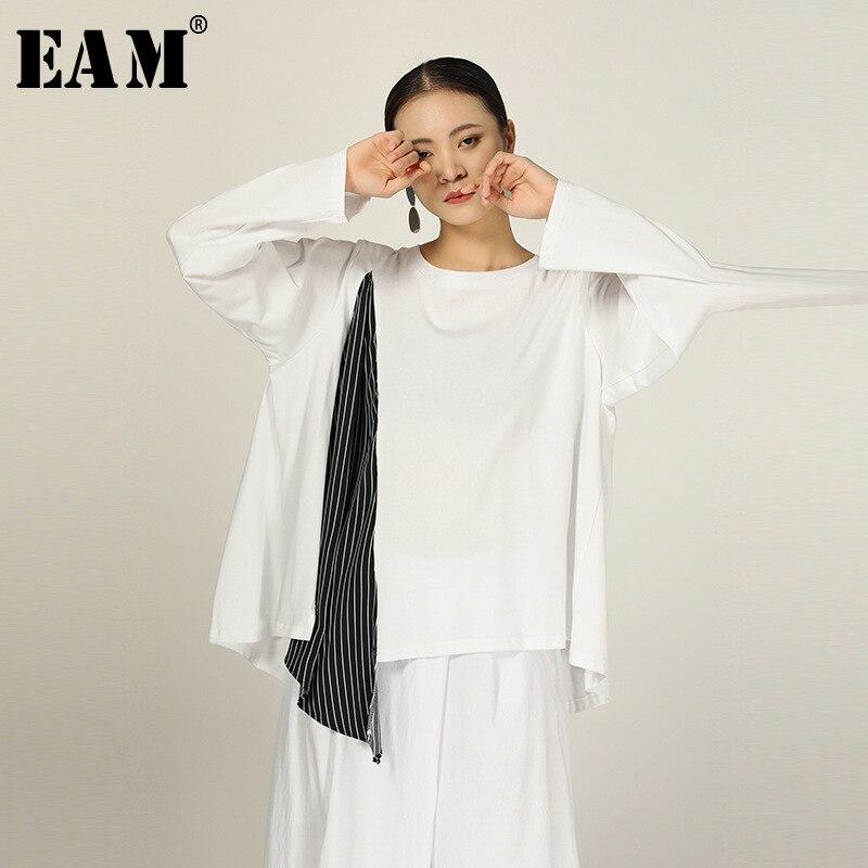 [EAM] Women Black Striped Split Joint Big Size T-shirt New Round Neck Long Sleeve  Fashion Tide  Spring Autumn 2020 1R296