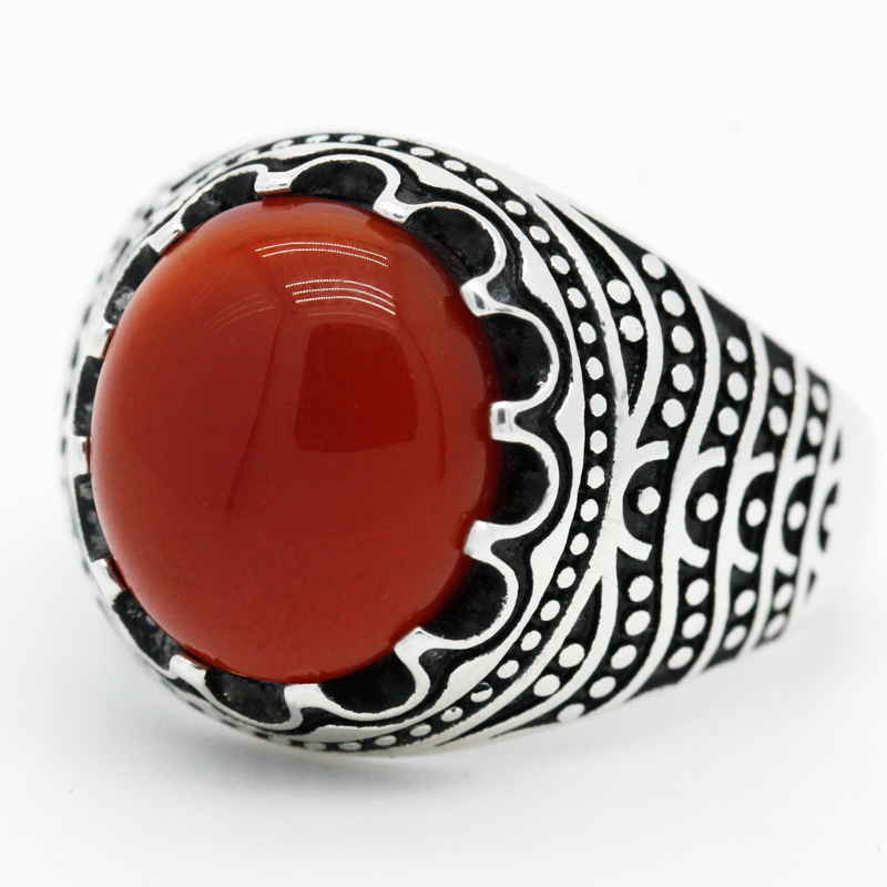 Turkey Jewelry Mens Ring with Natural Red Agate Stone 925 Sterling Silver Male Rings Turkish Thai Silver Jewelry Bague Argent
