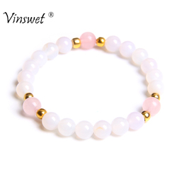 Natural Stone Bracelets for Women Bracelets Yoga Bracelet Female Fashion White Agates Beads Bracelets Women Men Jewelry