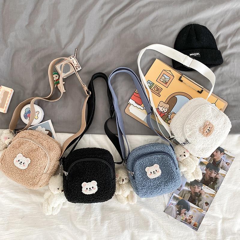 Cute and cute autumn and winter new bear messenger bag female plush mobile phone bag girl small shoulder bag