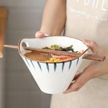 Bol à nouilles en céramique peint à la main, baguettes à Double oreille, bol à soupe pour salade de riz, bol Ramen de Style japonais pour la maison