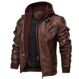 Image 2 - Herren leder jacke, Pu leder jacke mit abnehmbarer kapuze für motorrad, mit schrägen zipper für männer mantel große größe