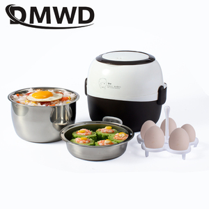 DMWD MINI Rice Cooker Thermal Heating Electric Lunch Box 2 Layers Portable Food Steamer Cooking Container Meal Lunchbox Warmer