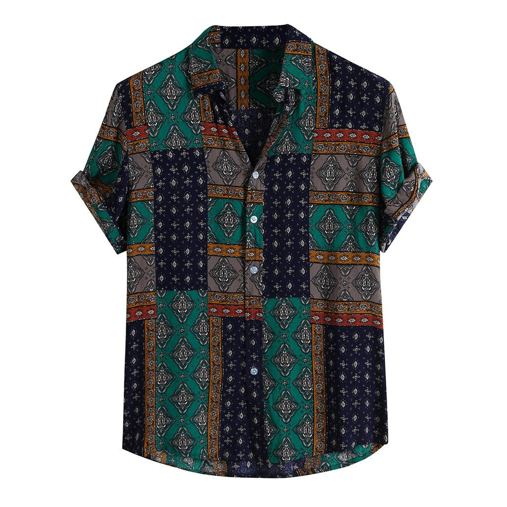 Womail 2019 New Arrival Summer Vintage Ethnic Style Men Shirt Loose Printing Rayon Button Short Sleeve Beach Hawaiian Shirts