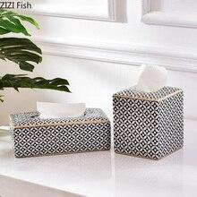 Мозаичный узор керамическая коробка для салфеток в современном стиле кухонные бумажные полотенца коробка для хранения салфеток