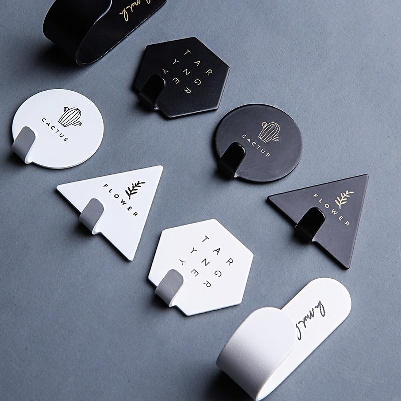 4pcs/set Geometric Wall Hook Nordic Key Hook Holder Self-adhesive Coat Hanger Rack Kitchen Bathroom Organizer Home Decoration