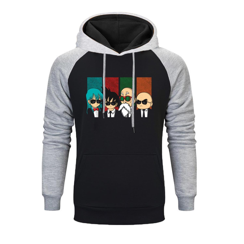Dragon Ball Master Roshi Super Saiyan Raglan Hoodies Sweatshirt Japanese Anime Hoodie Men Winter Fleece Harajuku Streetwear