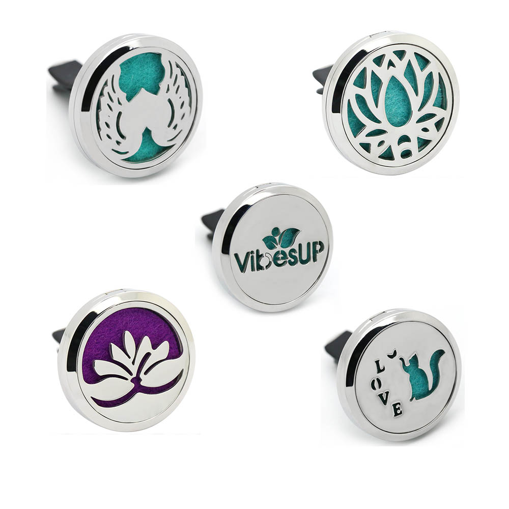 BOFEE Lotus Flower Car Vent Diffuser Aromatherapy Perfume Locket Magnet Round Stainless Steel Essential Oil Pendant jewelry 30mm