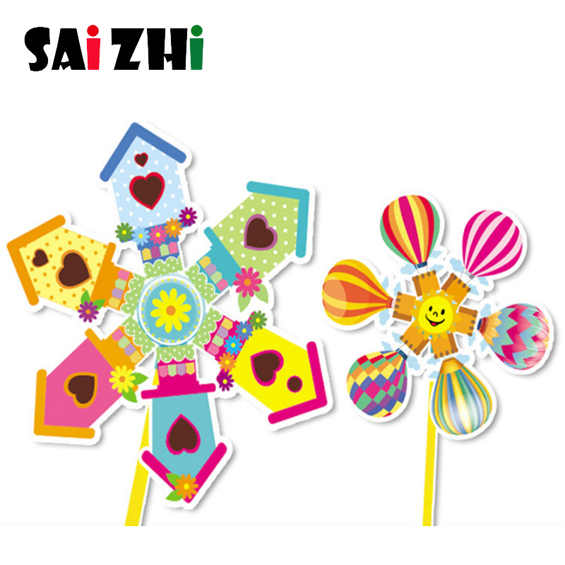 Saizhi DIY Windmill Set Handmade Wind Spinner Garden Ornaments Educational Toys For Baby Kids Outdoor Funny Game Playing Toys
