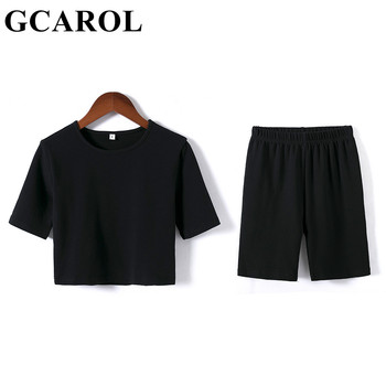 GCAROL Summer Women 2 Pcs Sets Sexy Sport T-shirt And Bike Shorts Legging Running Fitness Yoga Stretch Tees Bodybuilding Pants 1