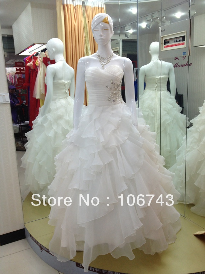Loves Free Shipping 2016 New Style Best Seller Sexy Bride Wear Handmade Custom Sizes Crystal  Plus Size Ball Gown Wedding Dress