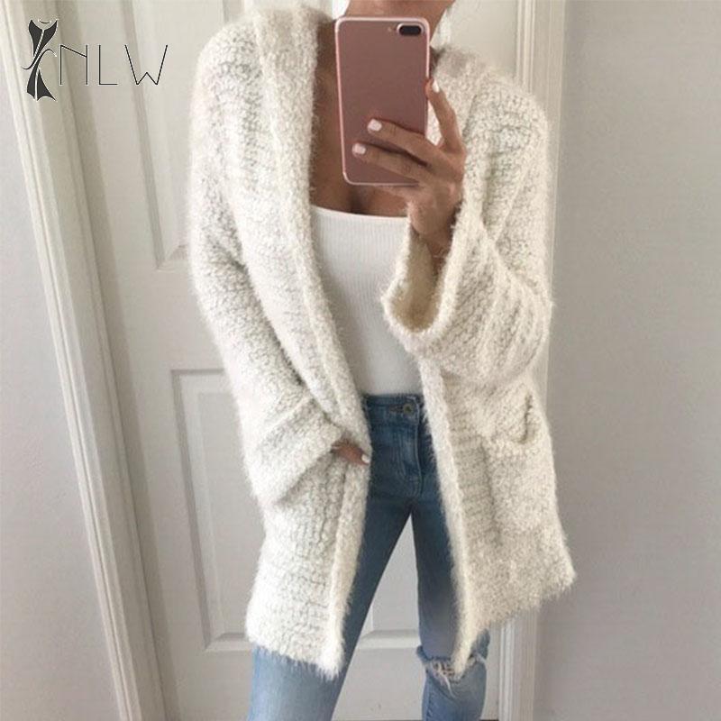 NLW Casual Hooded Fluffy Cardigans Women 2019 Autumn Winter Grey Long Cardigans Fashion Pockets Sweater Cardigans Big Size