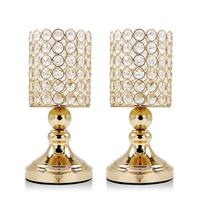 VINCIGANT Gold 9.4 Inches Tall Cylinder Ball Crystal Pillar Candlestick Holders for Wedding Home Decor