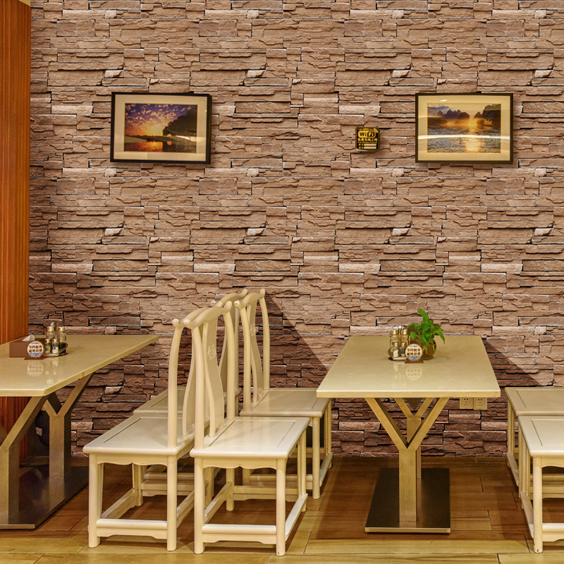 Vintage Stone Brick Texture Self Adhesive Wallpaper 3d Waterproof Wallpapers For Living Room Hotel Cafe Background Home Decor