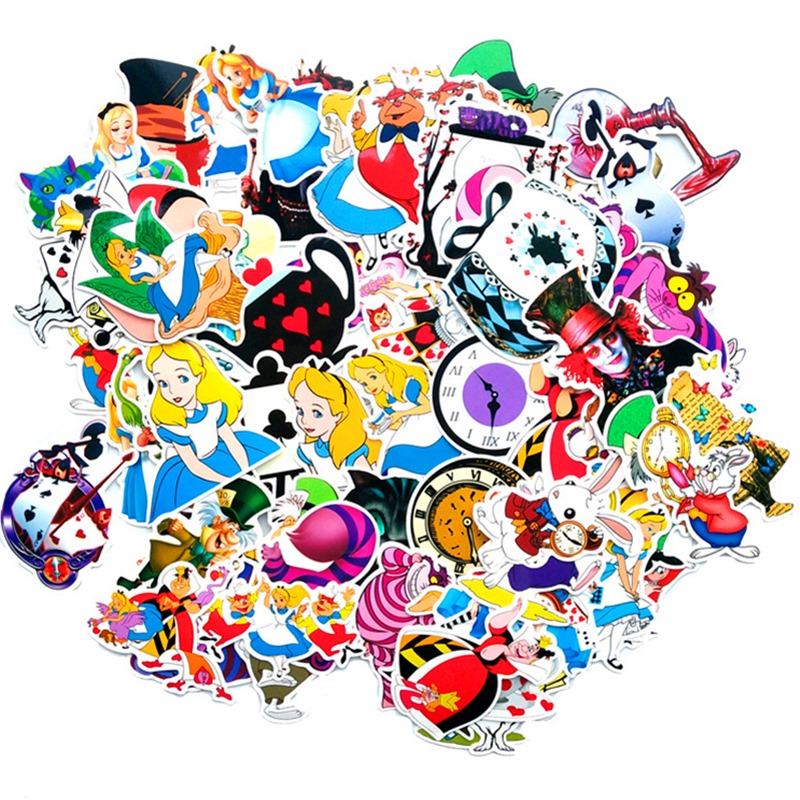 70pcs Alice In Wonderland Sticker Hot Style Graffiti Stickers Cheshire Cat Luggage