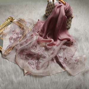 Image 3 - גבוהה באיכות נשים משי צמר פרחוני רקמת צעיף פשמינה חיג אב צעיפי כורכת יוקרה מוצק קשמיר חורף צעיפים