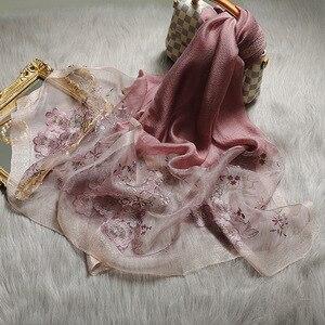Image 3 - Hohe Qualität Frauen Seide Wolle Floral Stickerei Foulard Pashmina Hijab Schals Wraps Luxus Feste Cashmere Winter Schals