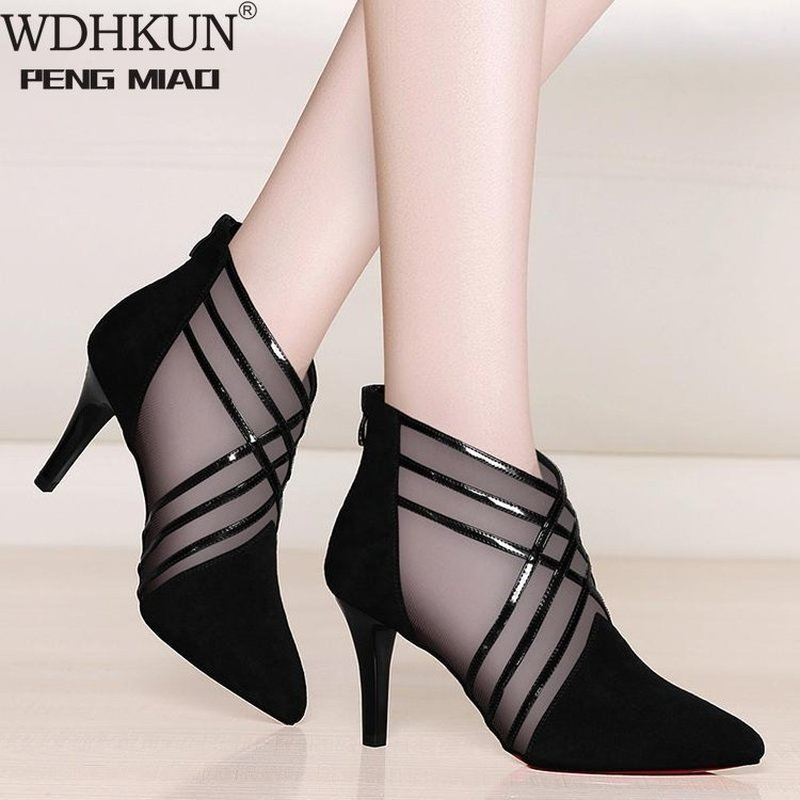 Fashion Mesh Lace Crossed Stripe Women Ladies Casual Pointed Toe High Stilettos Heels Pumps Feminine Mujer Sandals Shoes