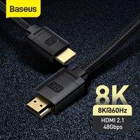 Cavo compatibile HDMI Baseus per Xiaomi Mi Box 48Gbps digitale per PS5 PS4 8K 2.1 4K 2.0 Splitter compatibile HDMI 8K/60Hz cavi