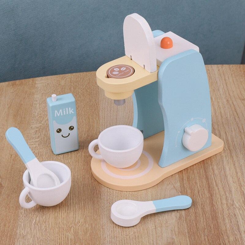 Children's Kitchen Coffee Machine Toy Children Cooking Set Pretend Play Wooden Kitchenware Montessori Educational Toys For Girls