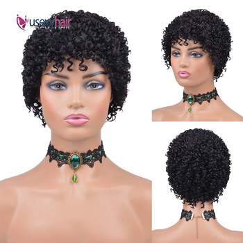 Short Curly Human Hair Wigs For Black Women Brazilian Remy Afro Kinky Curly Bob Wigs 150% Density Short Pixie Cut Wig Human Hair lekker brazilian human hair wig kinky curly hair bulk afro kinky curly human hair kinky wig short bob curly wigs human hair