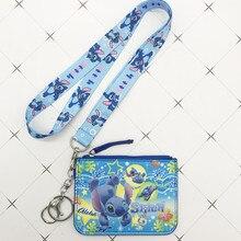 Disney стежка полиуретановый Кошелек для монет брелок для ключей шнур для еды брелок с отсеком карточки сумка для монет Микки Маус Сумка для документов