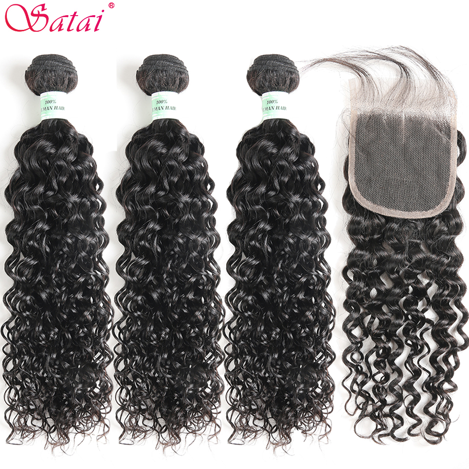 Satai Water Wave 3 Bundles With Closure 100% Human Hair Bundles With Closure Brazilian Hair Weave Bundles NonRemy Hair Extension