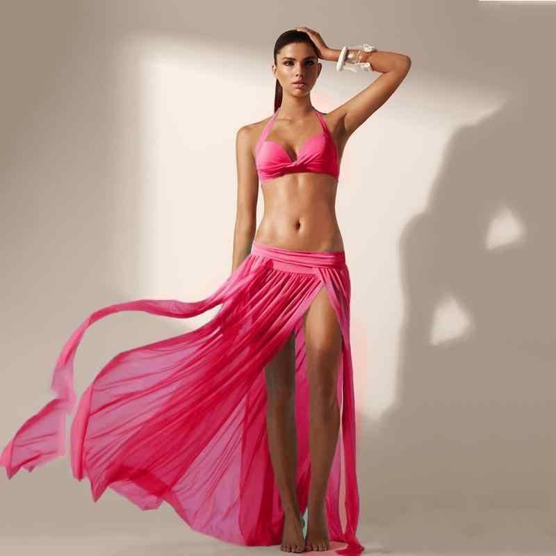 Venta caliente verano mujeres Sexy gasa traje de baño cubierta de playa Boho largo abrigo falda señora elegante moda Casual hasta el suelo faldas