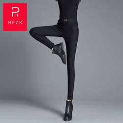 Rfzk Womens Black High-waist Pants 2020 New Style Wearing Small Feet Pants Was Thin And Tall Thickened Pencil Leggings