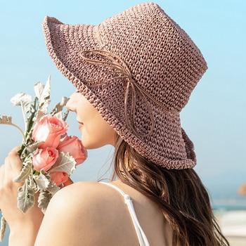цена на New Ladies Sun Hat For Women Bowknot Raffia Straw Hat Foldable Summer Hat Wide Brim Beach Hat Female Chapeau Femme