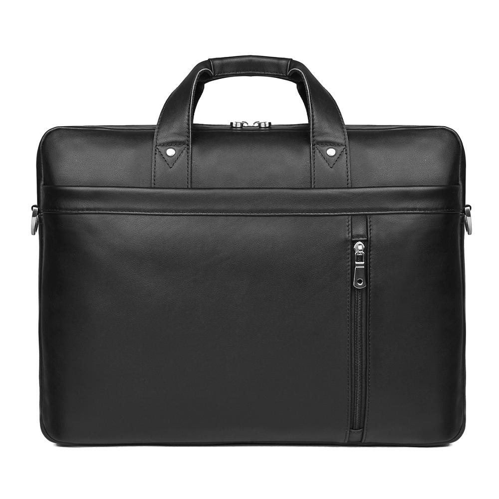 Nesitu New Black Genuine Leather 15.6'' 17'' Laptop Office Men Briefcase Handbag Business Travel Messenger Bag Portfolio M7386