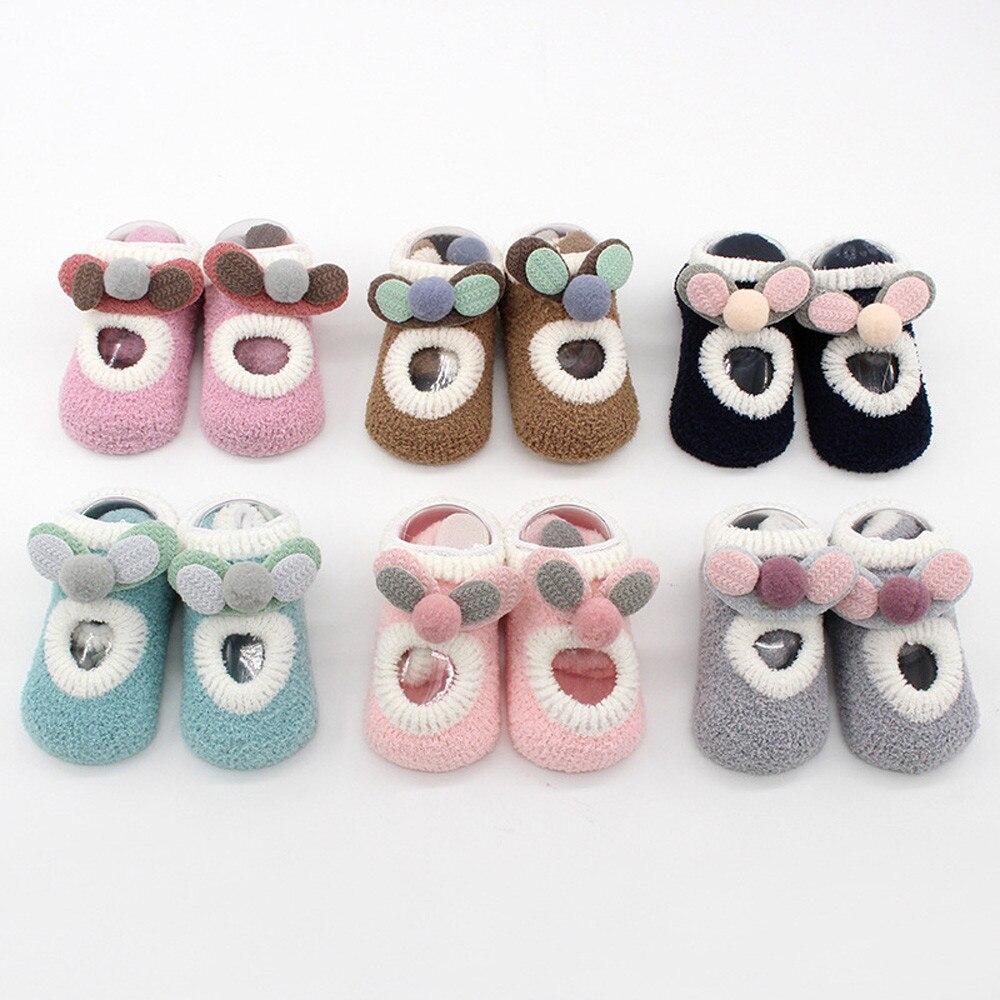 Newborn Baby Boys Girls Children's Socks носки детские Puericulture Calze Antiscivolo Ears Floor Socks Anti-Slip Step Socks H5