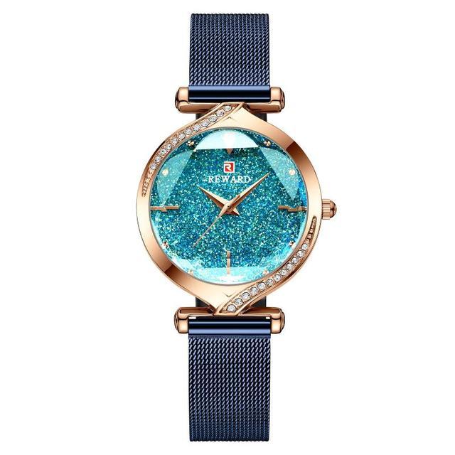 2020 New Arrived  Reward Ladies Watches Quartz Diamond Women Watch Rose Gold Female Watch Mesh Belt Waterproof Women Clocks Time
