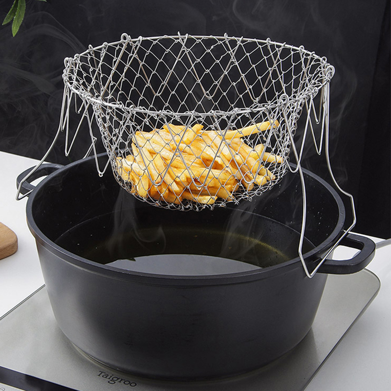 Foldable Steam Rinse Strain Stainless Steel Folding Frying Basket Colander  Sieve Mesh Strainer Kitchen Cooking Tools Accessories| | - AliExpress