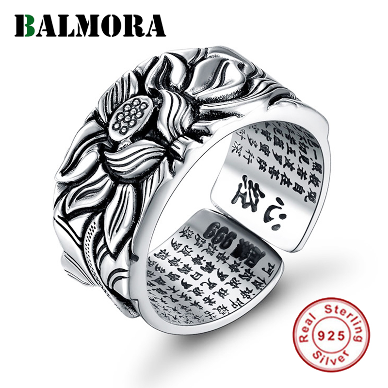 BALMORA Real 999 Pure Silver Retro Lotus Flower Open Stacking Finger Ring For Men Women Buddhism Sutra Fashion JewelryRings   -