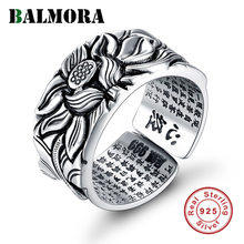 BALMORA Real 999 Pure Silver Retro Lotus Flower Open Stacking Finger Ring For Men Women Buddhism Sutra Fashion Jewelry