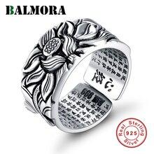 Balmora real 999 puro prata retro flor de lótus aberto empilhamento dedo anel para homens budismo sutra moda jóias