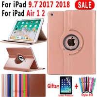 Pour iPad 9.7 2018 2017 housse pour iPad Air 2 Air 1 étui 5 6 5th 6th génération Funda 360 degrés rotation cuir Coque intelligente