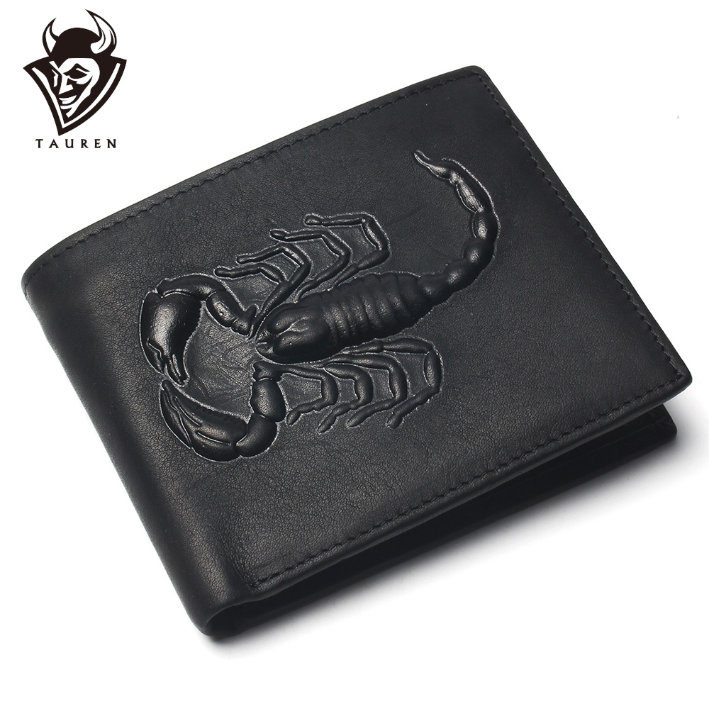 Men Short Wallet Scorpion Carving Pattern Pure Black Color Cheap 100% Genuine Leather Wallet For Man Coin Purse Card Holder