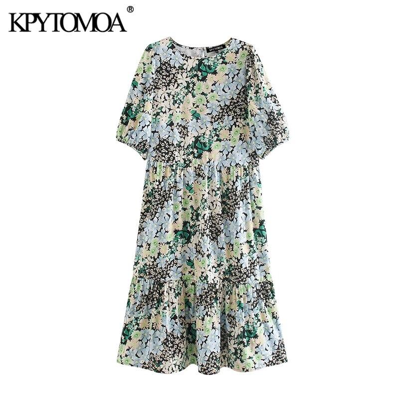 KPYTOMOA Women 2020 Chic Fashion Floral Print Midi Dress Vintage O Neck Puff Sleeve Female Dresses Casual Vestidos Mujer
